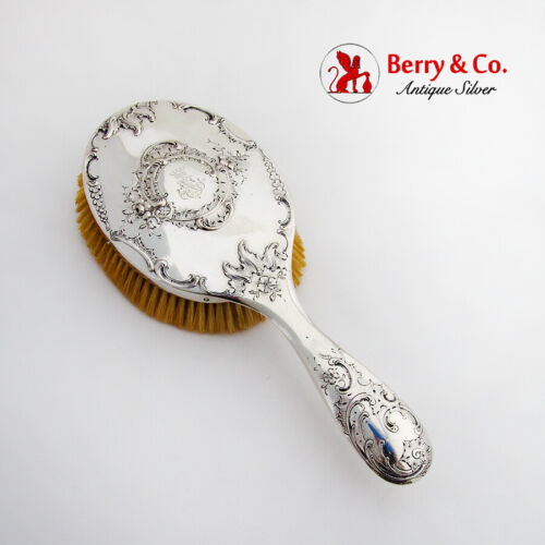 Baroque Floral Scroll Hair Brush Austrian 800 Silver 1900 Monogram