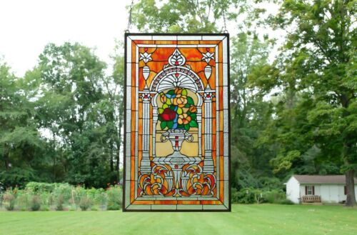 "20"" x 34"" Large Flower in vase Tiffany Style stained glass Jeweled window panel"
