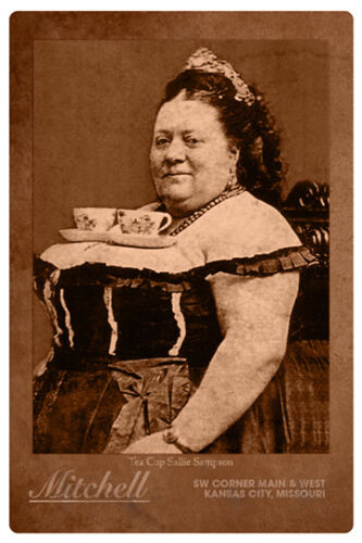 """TEA CUP SALLIE Apochryphal Old West """"Waitress"""" Humor Cabinet Card Photo RP"""
