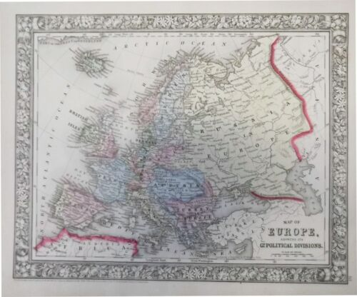 1860 Mitchell's Map of Europe showing its Gt. Political Divisions (Original Map)