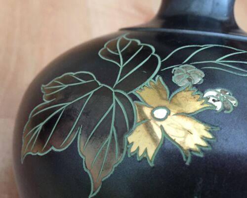 Cloisonne metal vase; Signed, Japan, unusual metallic finish; VINTAGE; floral