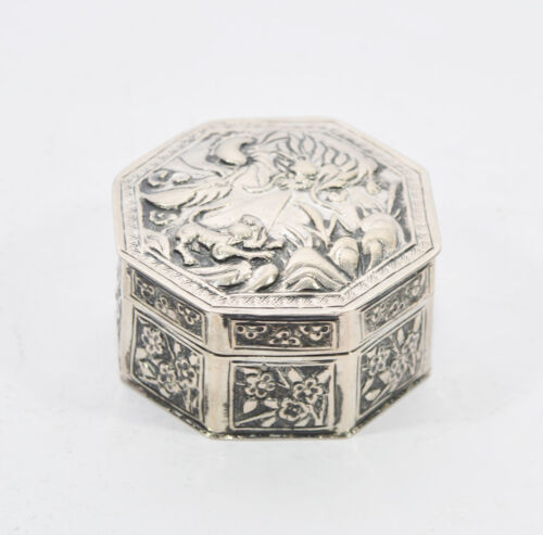 ANTIQUE CHINESE EXPORT SILVER BOX WITH FIGURES AND SIGNED