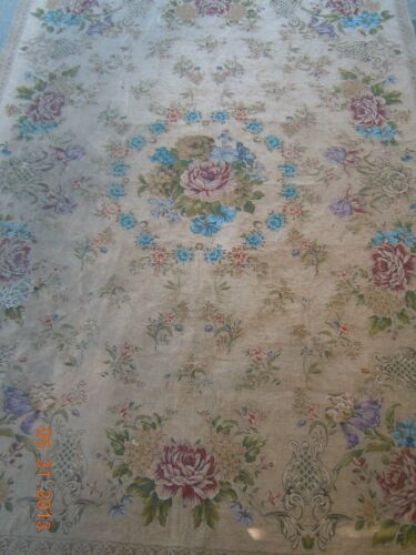 FRENCH AUBUSSON  DESIGN FLORAL GARLAND TAPESTRY RUG~GORGEOUS PASTEL COLORS!
