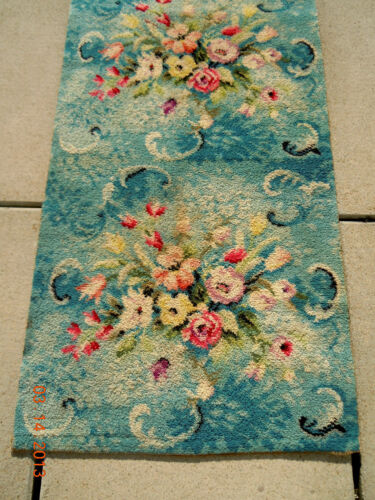 RARE~BEST PASTEL BLUE ANTIQUE Floral Spray WOOL HIGH END Rug