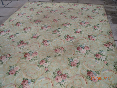 OMG RARE BIGELOW FLAPPER ERA RUG~FRENCH CHIC ROSE BOUQUETS, RIBBONS & SCROLLS!!!