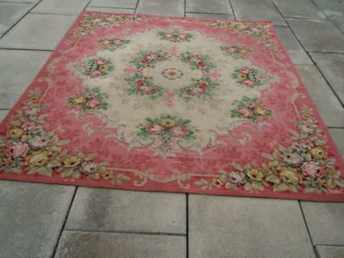 BEST French Chateau Aubusson Floral Wool Rug~Gorgeous PINKS!
