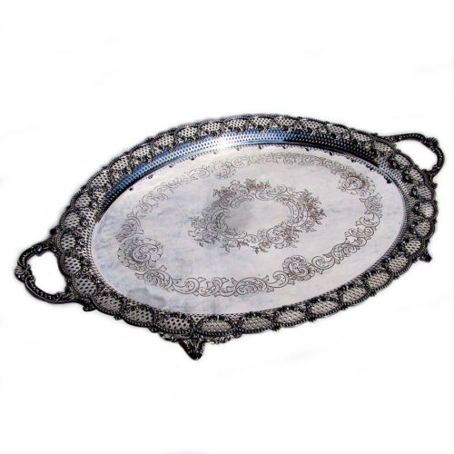 Large Ornate Tray with Handles Silver Plate England