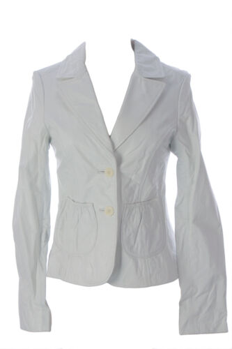 DOMA by Luciano Abitboul White Leather Two-Button Blazer Jacket 1560 Sz M