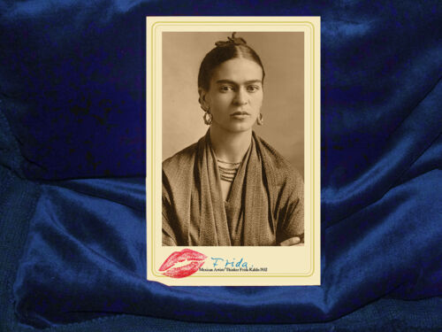 FRIDA KAHLO Mexican Artist Feminist Icon Cabinet Card Photograph Vintage