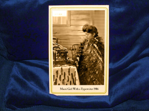 YOUNG MAORI WOMAN WITH TYPEWRITER 1906 Cabinet Card Photo Vintage History