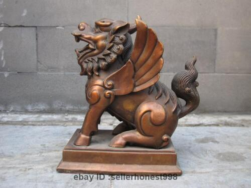 Chinese Feng Shui red Bronze kylin Foo Dogs Lion Avoid apotropaion beast Statue