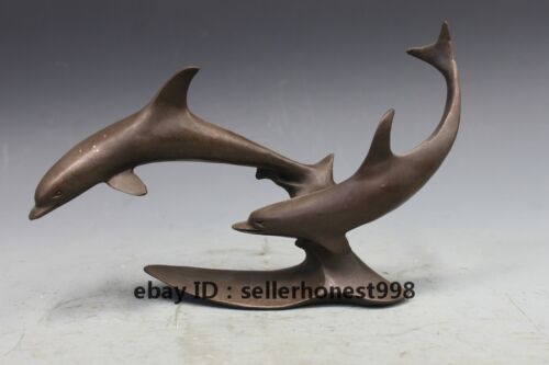 Chinese fengshui classic Pure Bronze Two Dolphin Fish Deco art Statue
