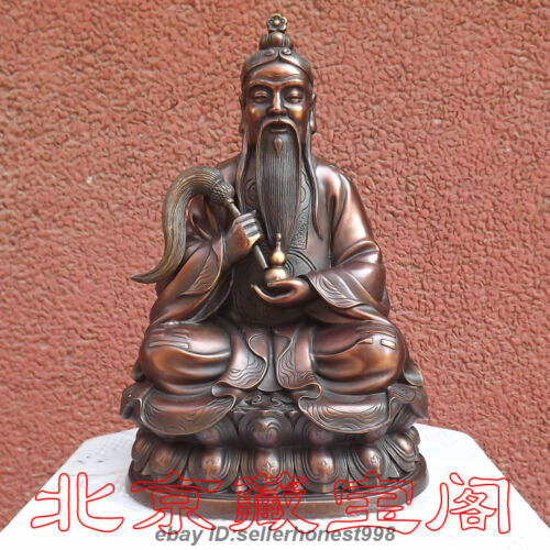 China Religious Red Bronze Taoism Tai Shang Lao Jun Taoist Buddha Art Statue