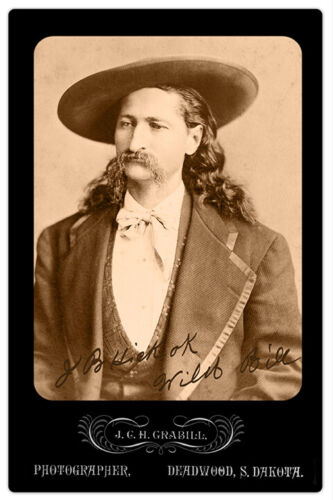 WILD BILL HICKOK Old West Legend Vintage Cabinet Card Photograph CDV RP