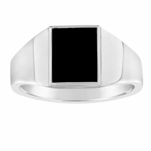 Gents Sterling Silver Rectangular Top Ring Black Onyx Q212A