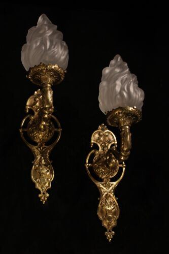 sconces wall lights fixtures bronze and glass flame shades