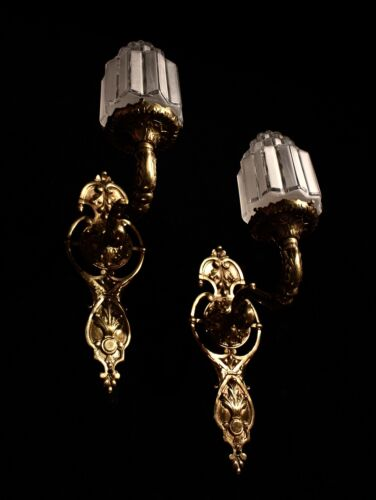 Art deco pair of bronze wall fixtures unique pieces by European Lighting