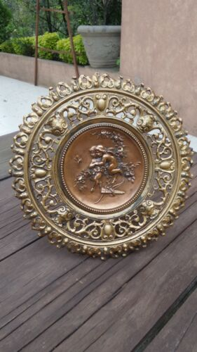 1900's FRENCH BRONZE?? REPOUSSE TAZZA CENTERPÍECE WITH CUPIDS, BEE AND FLOWERS