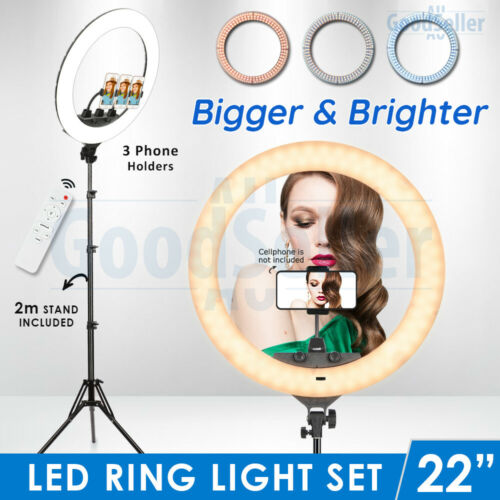 """19"""" 5500K Dimmable LED Ring Light Diffuser Stand Make Up Studio Lighting Video"""