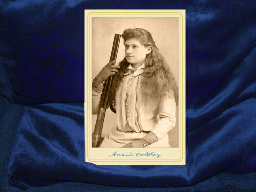 ANNIE OAKLEY v2 Cabinet Card Photograph Old West Vintage Photo CDV