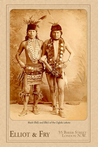 BLACK ELK SPEAKS London Photograph Wild West Show Tour Cabinet Card Vintage