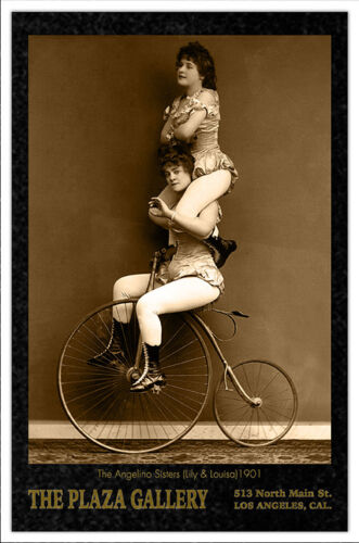 ANGELINO SISTERS Acrobats Circus Sideshow Vintage Photograph Cabinet Card