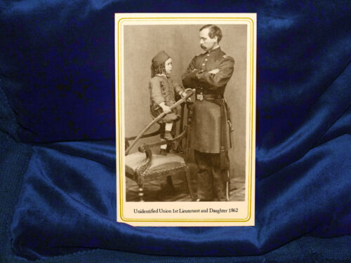 Civil War Union Army 1st Lieutenant & Daughter Cabinet Card Photograph 1862