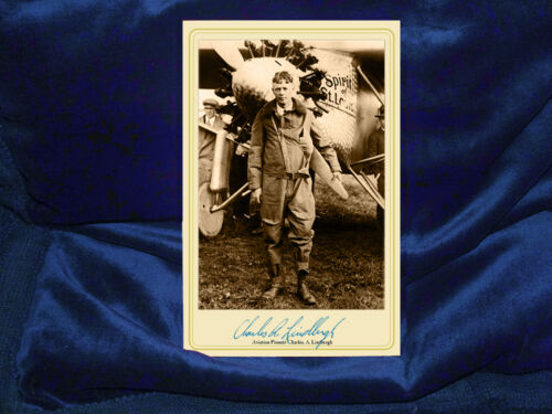 CHARLES LINDBERGH Aviation Pioneer Autograph Cabinet Card Photograph Vintage RP