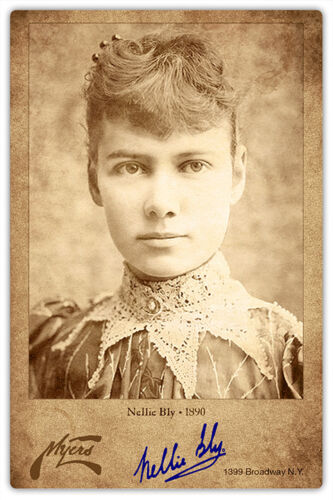 NELLIE BLY  Writer Pioneer Journalist Autograph Photo Cabinet Card Vintage 2 RP