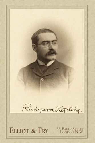 RUDYARD KIPLING  Writer Poet Journalist Autograph Photo Cabinet Card Vintage