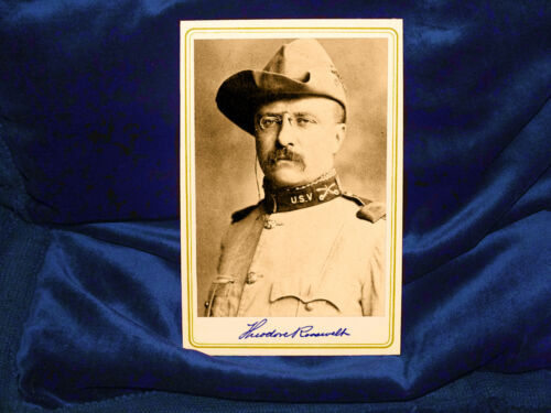 """THEODORE """"TEDDY"""" ROOSEVELT Cabinet Card Photograph Vintage AUTOGRAPH"""