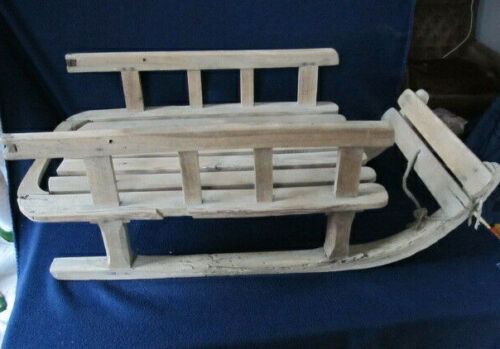 OLD ANTIQUE PRIMITIVE SLEIGH CARRIAGE SLED WOODEN HANDMADE SNOW COASTER