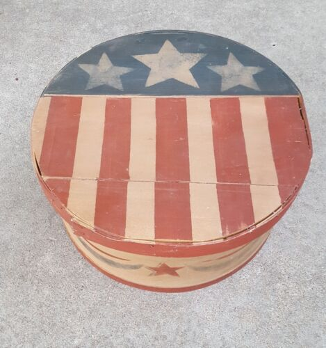 Stars & Stripes OOAK Painted Wood Cheese Box Americana Primitive USA Folk Art