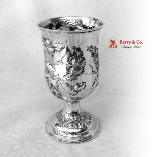 Coin Silver Large Goblet Oak and Leaves Decorations 1860