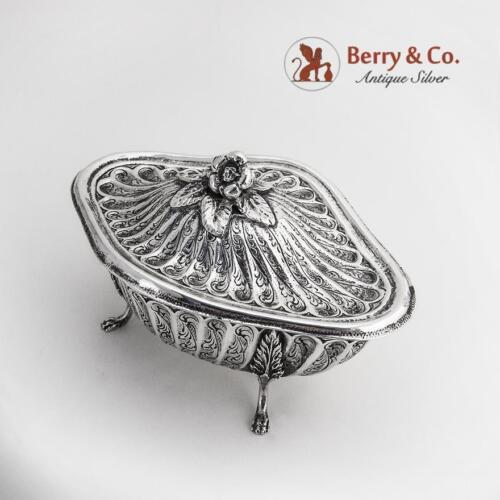 Ornate Sugar Bowl with Lid Hand Decorated 800 Silver Romeo Miracoli Milan 1960