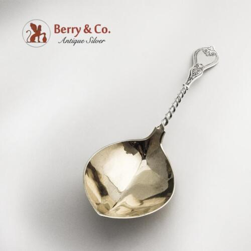 Aesthetic Serving Spoon Coin Silver Albert Coles Engraved Twist Handle 1870