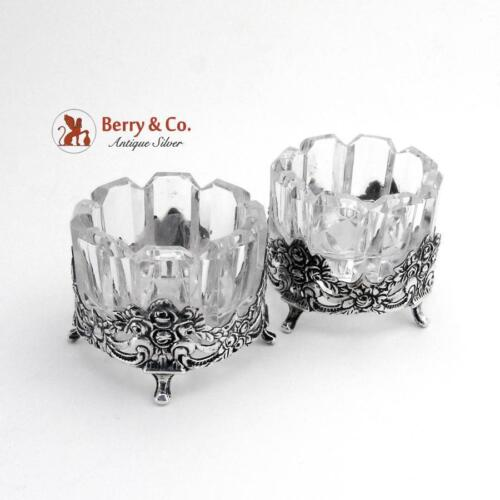 Embossed Rose Scroll Open Salt Dishes German 835 Silver Cut Glass Pair FRL 1960