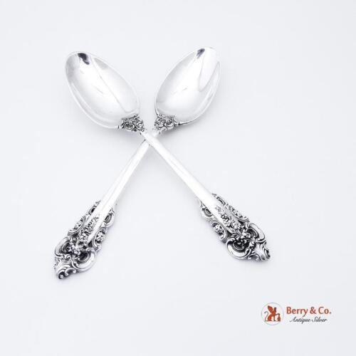 Grande Baroque Dessert Oval Soup Spoons Wallace Sterling Silver Pair