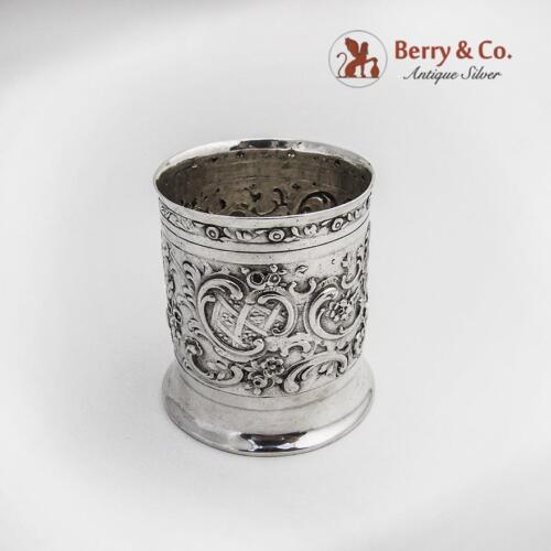 Ornate Repousse Toothpick Holder Urn 800 Silver Germany Floral Scroll Shell 1890