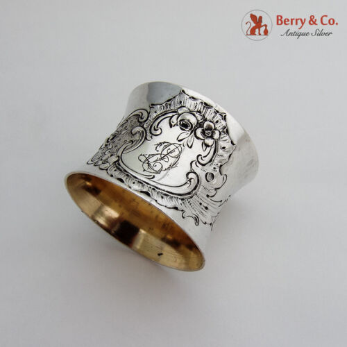 Napkin Ring Baroque Shell and Scroll Design Coin Silver 1890