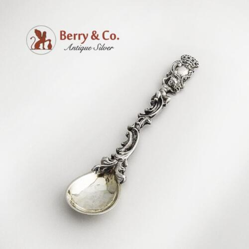 Ornate Baroque Master Salt Spoon 800 Silver Cherub Decoration Germany 1890