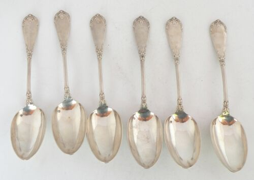 """antique french sterling silver large & ornate soup spoons hallmark 9.5"""" L, 83 GR"""