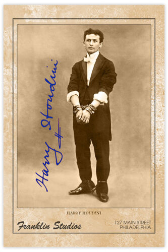 HARRY HOUDINI Magician Escape Artist Debunker Photograph A+ Reprint Cabinet Card
