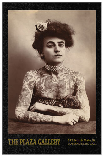 TATTOOED LADY 1907 Circus Sideshow Vintage Photograph Cabinet Card RP Tattoo