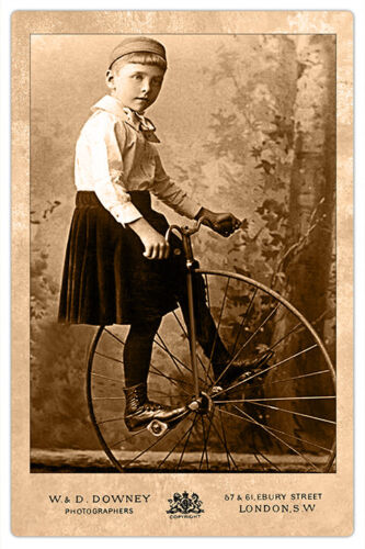 RARE VICTORIAN CHILD WITH UNICYCLE  Photograph Cabinet Card Vintage CDV RP