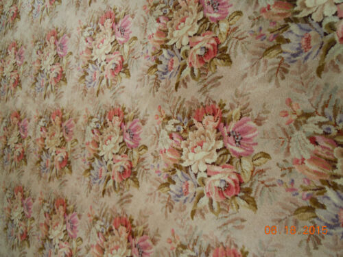 EXTRA LARGE VINTAGE FRENCH FLORAL BOUQUETS WOOL RUG...15+ Feet!
