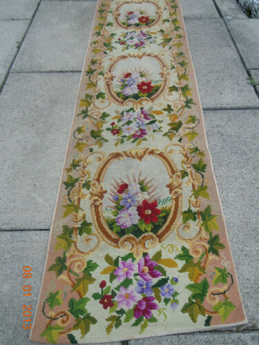 OLD French Floral Garland Bouquets Medallion Tapestry Needlepoint 10 ft Runner