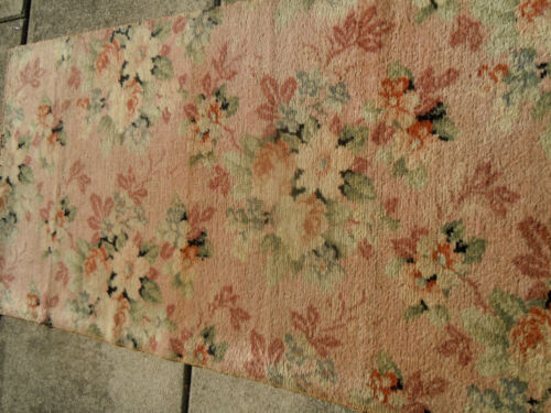 Lovely Pale PINK BIGELOW VINTAGE Cabbage ROSES Rug!