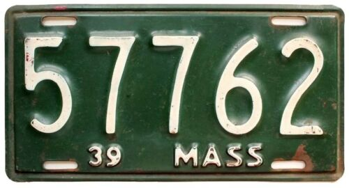 Massachusetts 1939 5-Digit Shorty License Plate, 57762, Antique, Garage Sign