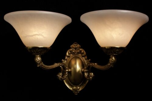 Single Art Deco Spanish alabaster wall light solid  double arms bronze